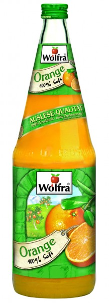 Wolfra Orangensaft 6 x 1,0 Liter Glas