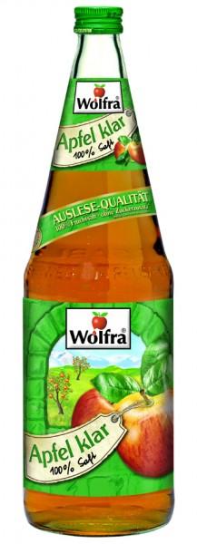 Wolfra Apfelsaft klar 6 x 1,0 Liter Glas